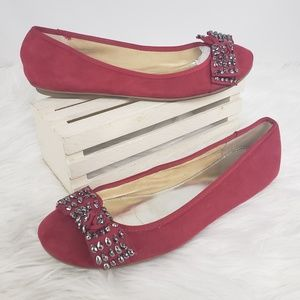 Alfani Red Silver Sparkles Bows Ballet Flats